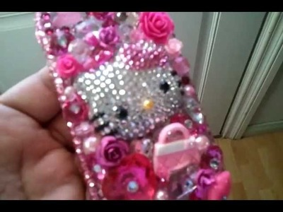 DIY bling out cell phone case purty in pink HK