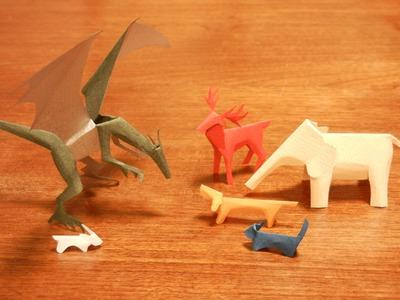 "Dog, cat ,and dragon of Kiriorigami paper craft  ""Oblique crimp fold"""