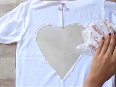 Fashion DIY How to Lace Heart Cut Out T Shirt Super Easy & Chic