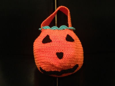 How to crochet halloween pumpkin treat bag