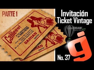 Invitación Ticket Vintage Parte 1.2 - Corel DRAW X7 - Bachelor party invitation