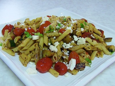 Quick Zucchini & Cherry Tomatoes Pasta Salad video recipe by Bhavna - Lunch box recipe