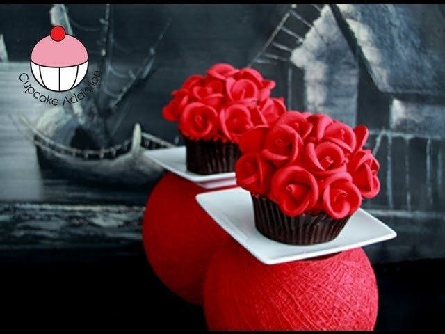 ROSE CUPCAKES! Make Rose Flower Bouquet Cupcakes - A Cupcake Addiction How To Tutorial