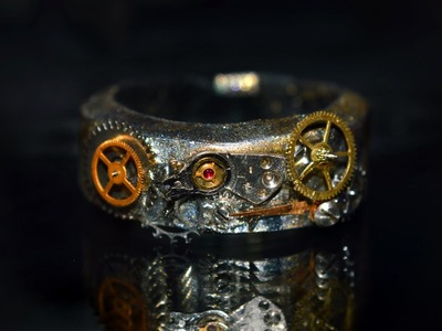 Steampunk. Clockpunk ring tutorial from real watch cogs