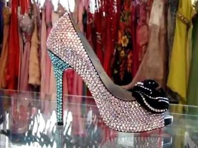 Swarovski Crystal Elements High Heels. by; Milo ligons on South Beach.