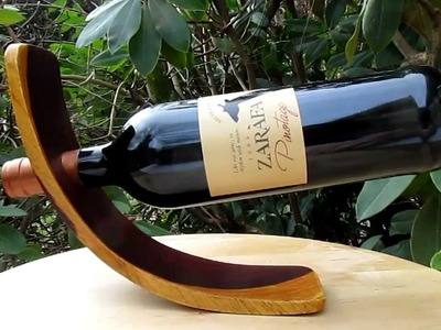 Wine Bottle Holder - Self Balancing - Rosewood Cocobola - www.HeartwoodGifts.com