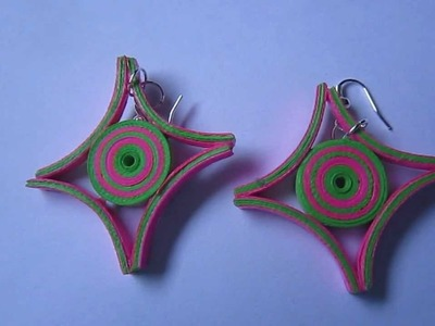 Handmade Jewelry - Paper Quilling Earrings (Square Cut)