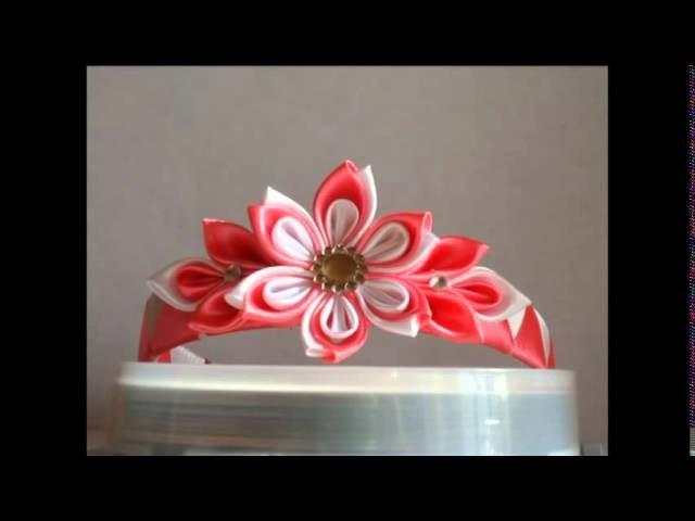 Headbands with flowers of art kanzashi