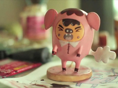 Painting Polymer Clay Toy Piggy