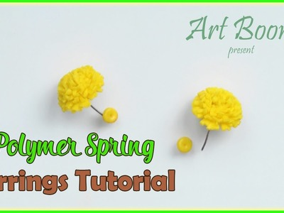 Polymer clay yellow Earrings Tutorial for beginners. Jewellery making