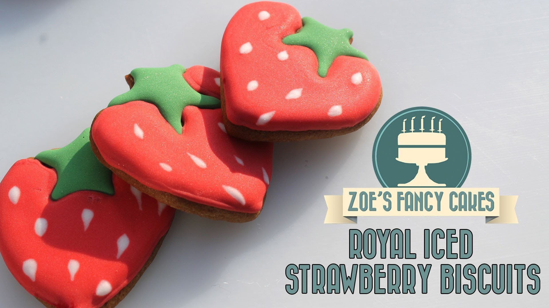 Royal icing strawberry biscuits How To Tutorial Zoes Fancy Cakes