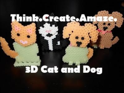 3D Perler Bead Dog and Cat