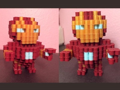 3D Perler Bead Iron Man!