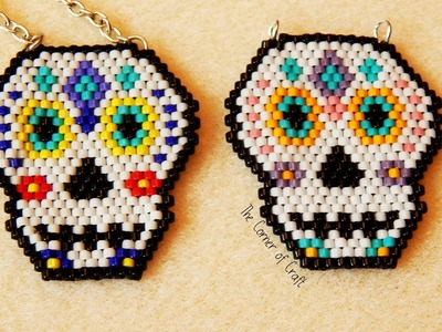 Beaded Sugar Skull. Brick Stitch and Bead Weaving. How To ¦ The Corner of Craft