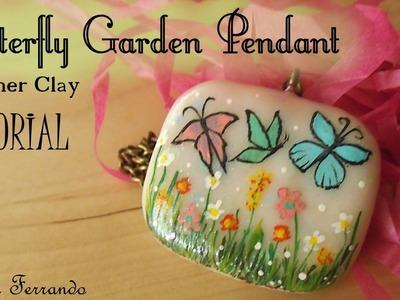 Butterfly Garden Pendant - Polymer Clay Tutorial | Maive Ferrando