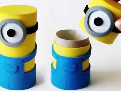 DIY crafts  MINIONS BOX from cardboard tube   Innova Crafts
