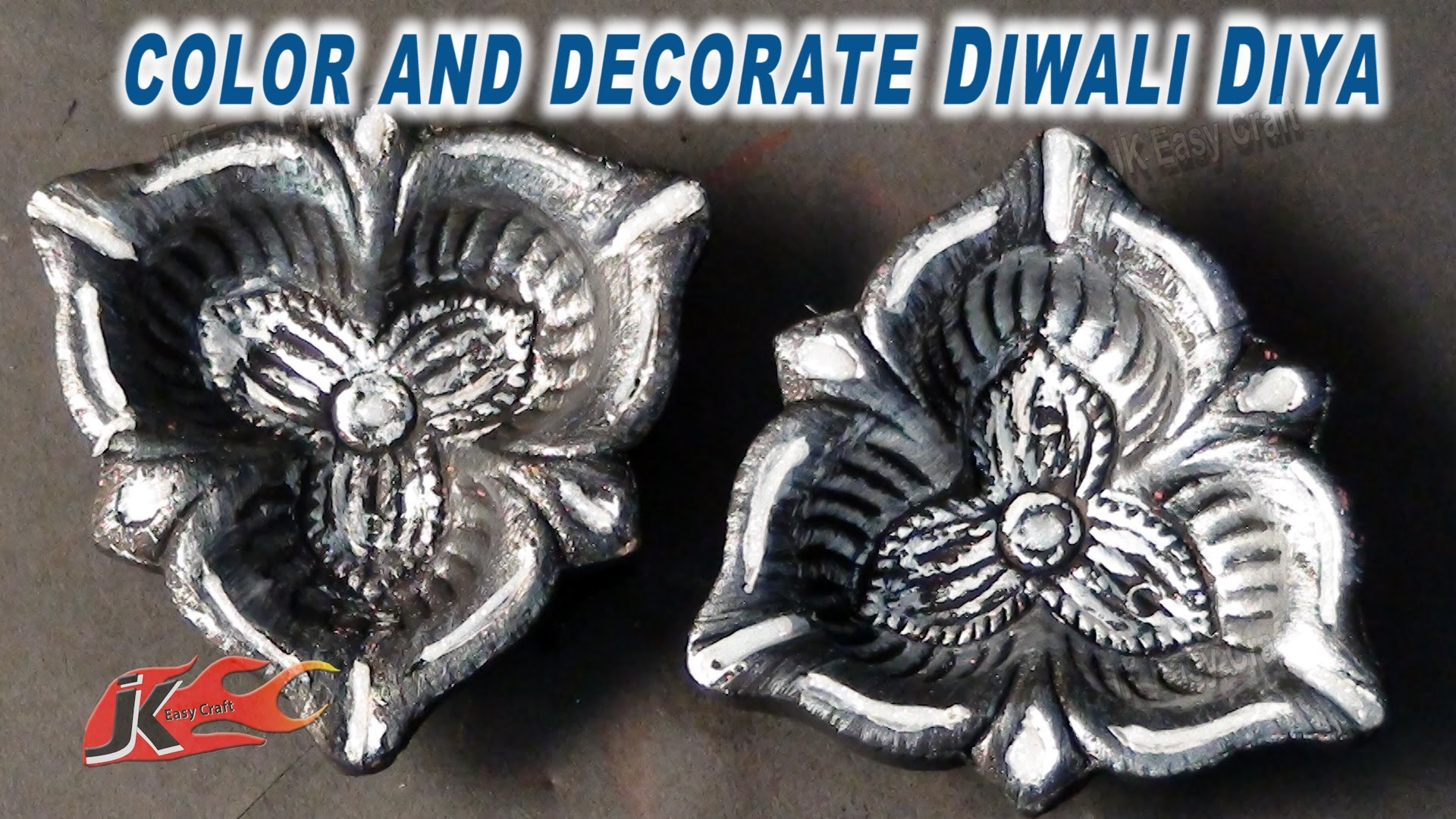 DIY Diwali Diya Decoration|How to color and decorate |JK Easy Craft 056