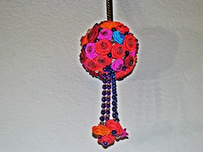 DIY Hanging Flower Ball with Foam Roses - Very Easy !