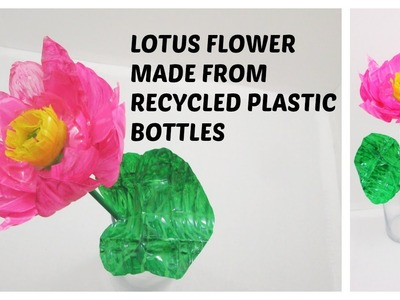 DIY LOTUS FLOWER MADE FROM RECYCLED PLASTIC BOTTLES