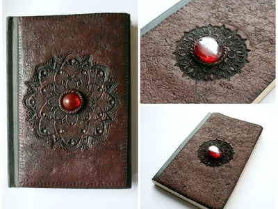 Faux Leather Polymer Clay Notebook.Sketchbook.Journal Cover | Fimo | Velvetorium