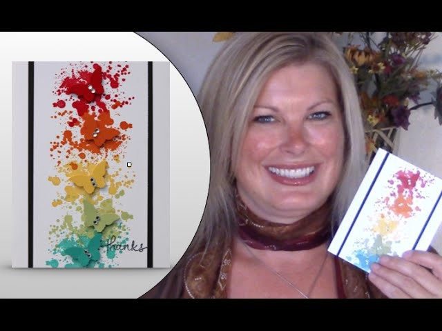 How to make this Butterfly Rainbow Splatter Wow Card featuring Stampin Up