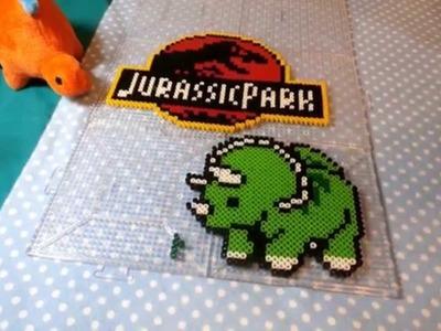 ~ Jurassic Park  + Triceratops Perler Bead ~ Stop Motion
