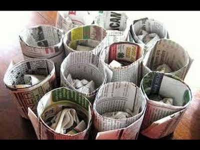 Newspaper Crafts DIY. Useful Decorative Things. Recycle Waste