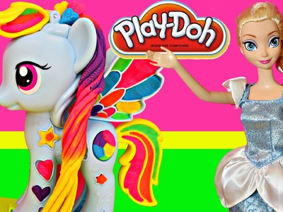 Play Doh Video of NEW My Little Pony Rainbow Dash and Frozen Cinder-Elsa Elsa Carriage Doll