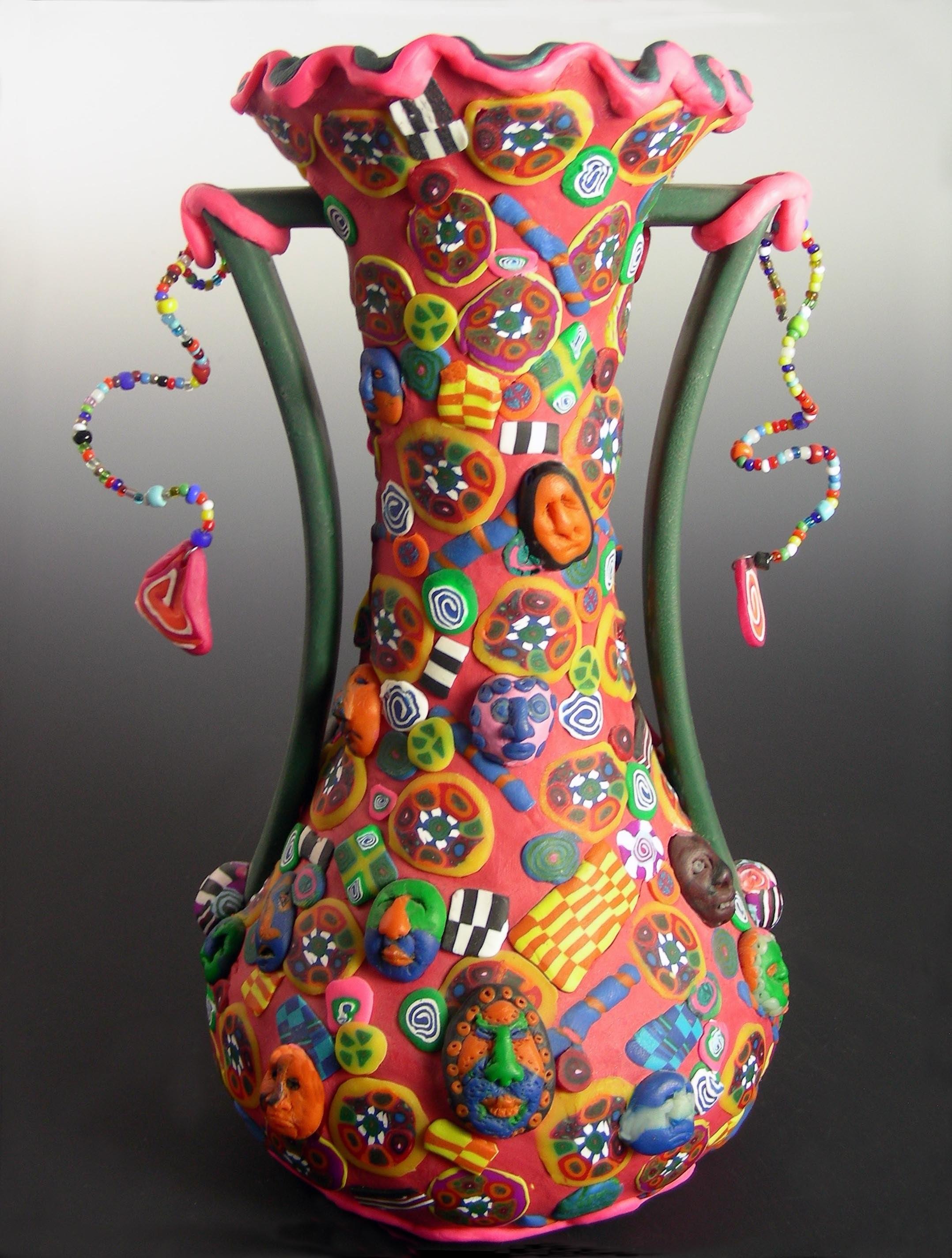 Polymer Clay Embellished Vases