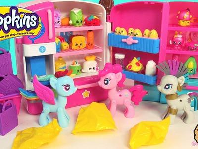 Pop MY Little Pony Pinkie + Rainbow Dash are Unboxing Shopkins Season 2 + 3 in Fridge Playset