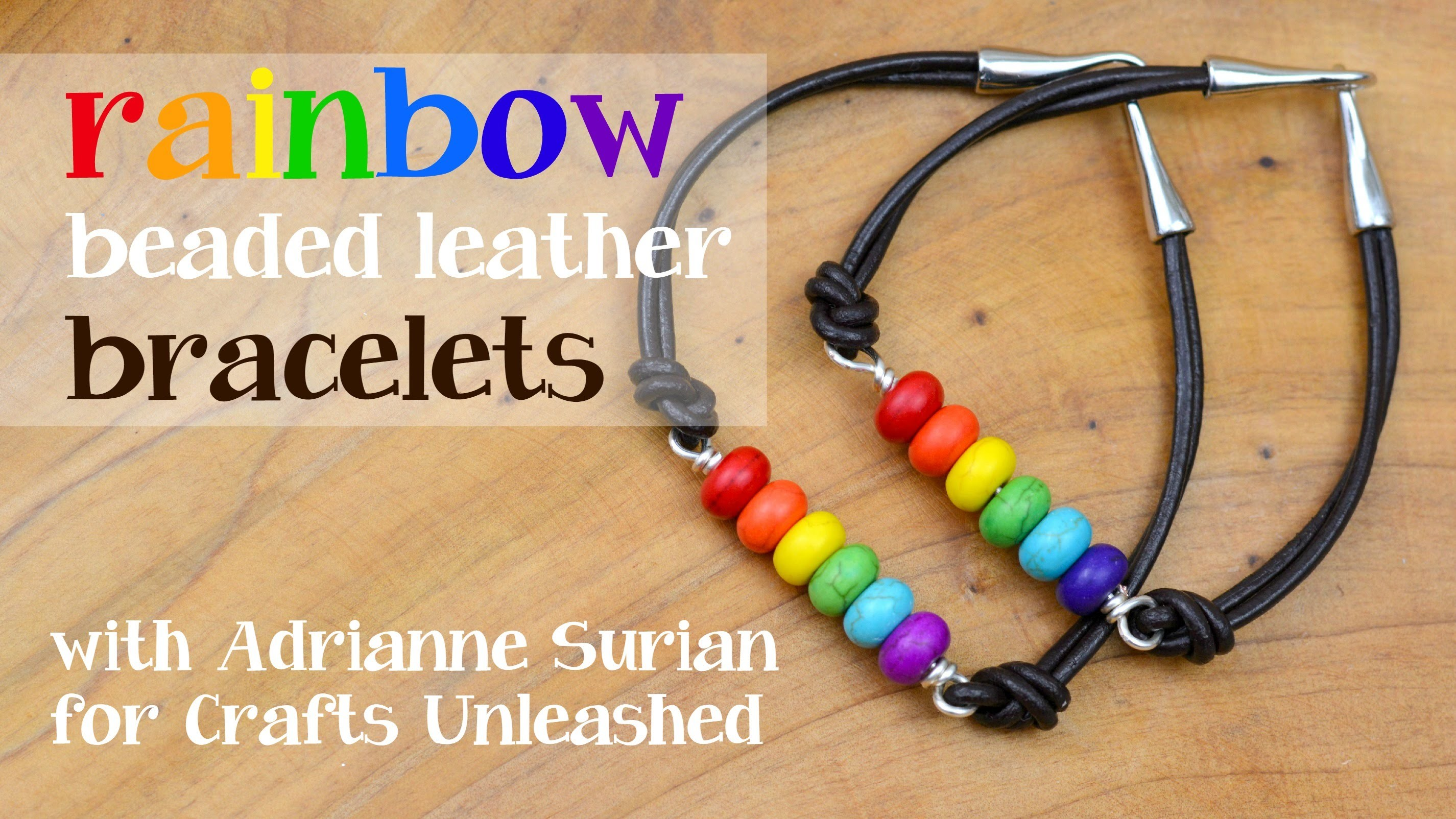Rainbow Beaded Leather Bracelets