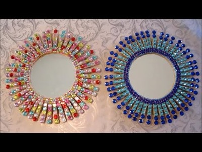 Starburst Mirror | Easy DIY Crafts For Kids | Clothespin And Rhinestone Crafts | Room Decor