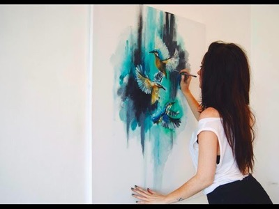 Abstract Birds Oil Painting - Time-Lapse - Speed Painting