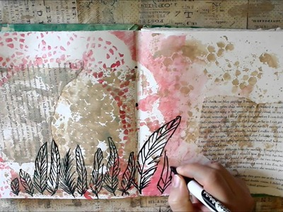 Art Journal Page - Feathers & Hexagons
