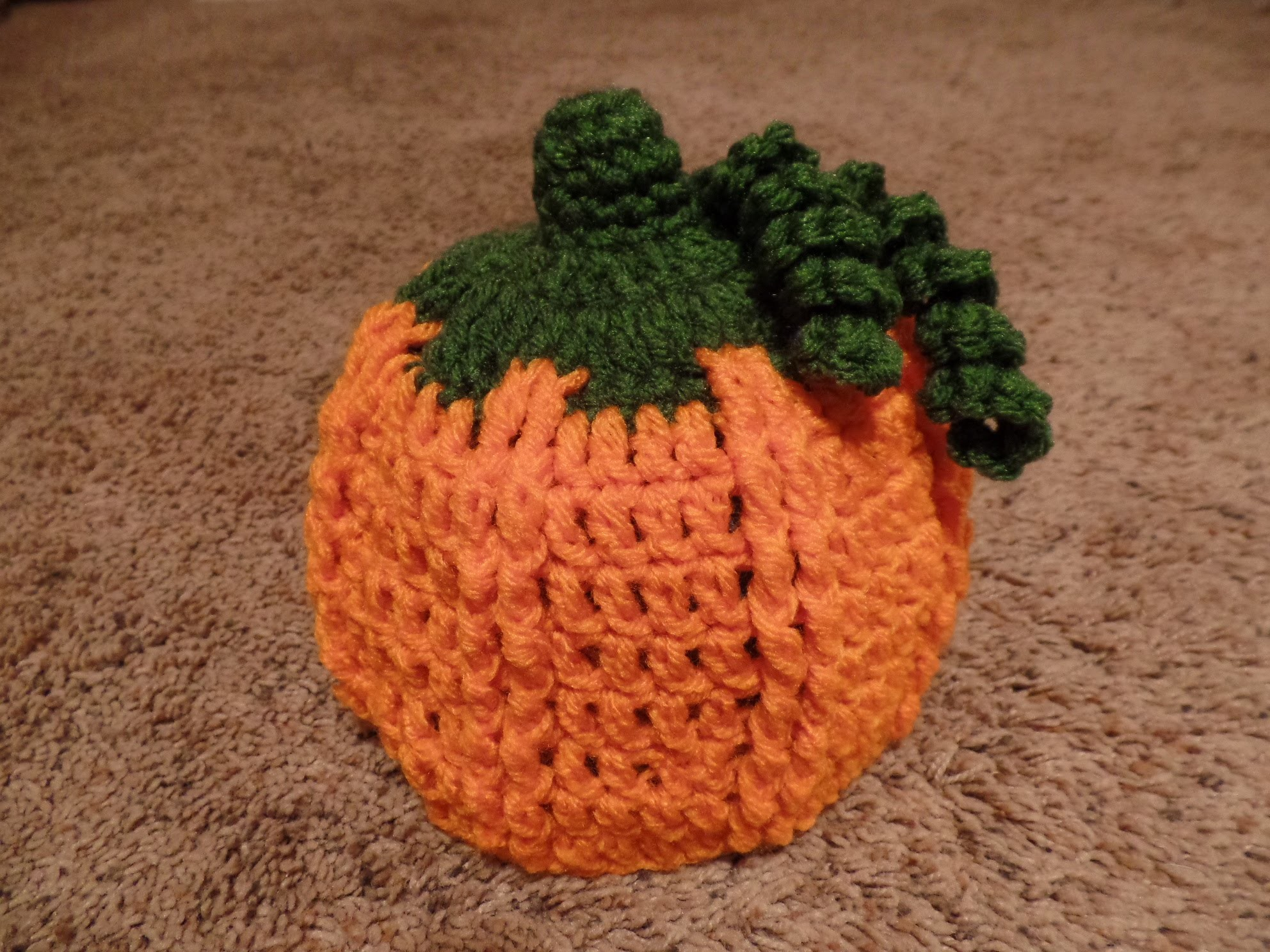 #Crochet Child Pumpkin Beanie Hat #TUTORIAL