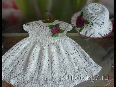 Crochet dress| How to crochet an easy shell stitch baby. girl's dress for beginners 24