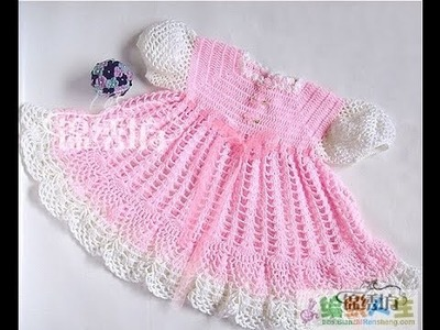 Crochet dress| How to crochet an easy shell stitch baby. girl's dress for beginners 48