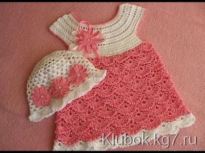 Crochet dress| How to crochet an easy shell stitch baby. girl's dress for beginners 35
