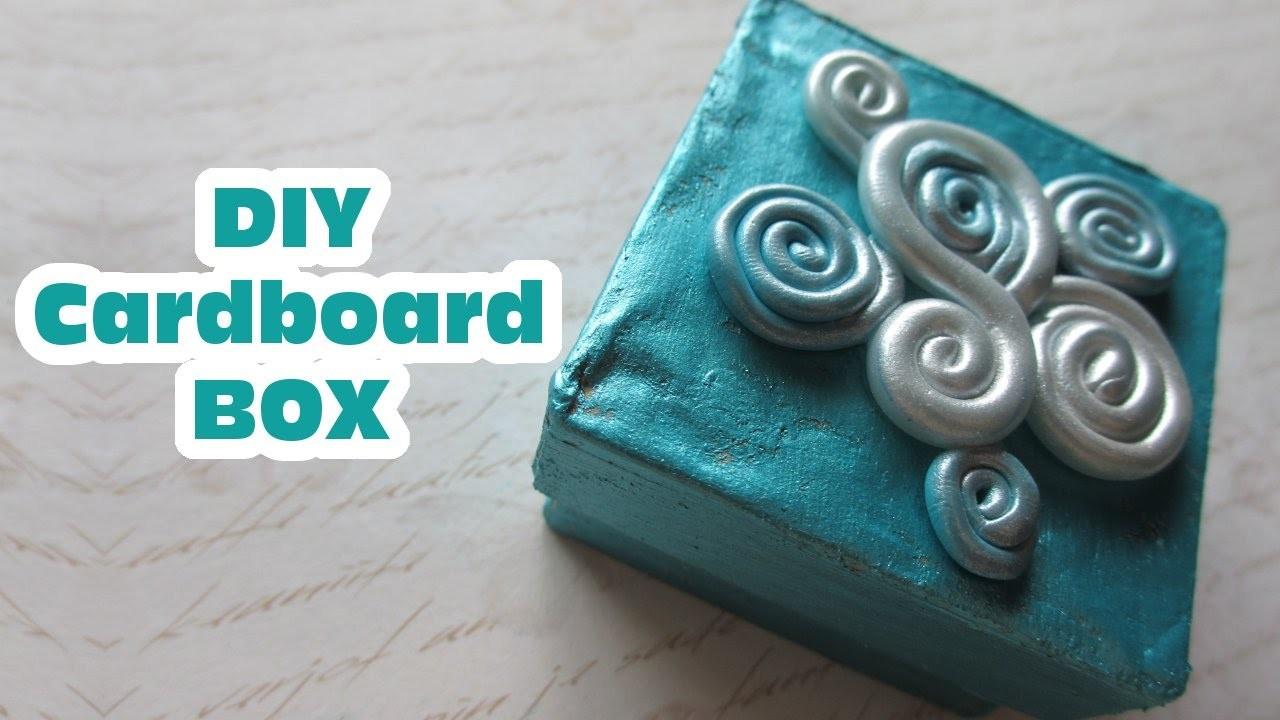 DIY Cardboard Box. Blue & Swirly Polymer Clay Art