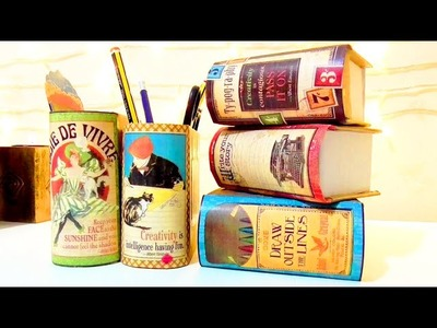 DIY: Desktop organizer made of cardboard , vintage crafts | Isa ❤️