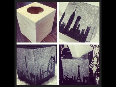 DIY: Glitter Cityscape Tissue Box 2