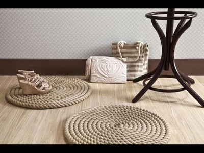 DIY  home ideas  Rope rug. Craft making