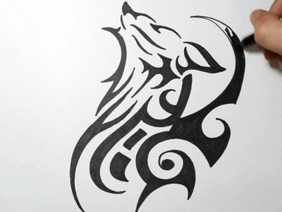 How to Draw a Tribal Wolf Tattoo Design - Sketch 2
