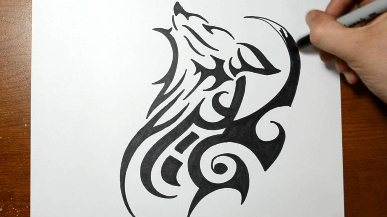 7bc0c08f0 How to Draw a Tribal Wolf Tattoo Design - Sketch 2