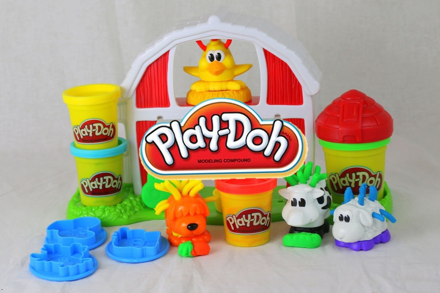 Play-Doh Farm Barnyard Pals Play Doh Set Playdough Animals Barn Hair Play-Doh Dog DisneyCarToys