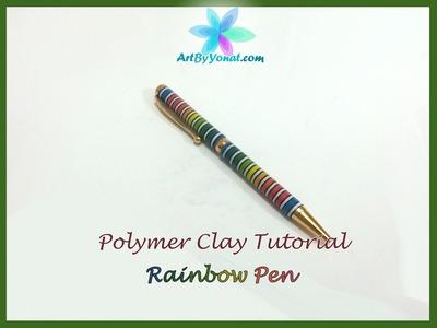 Polymer Clay Tutorial - Striped Rainbow Pen - Lesson #21