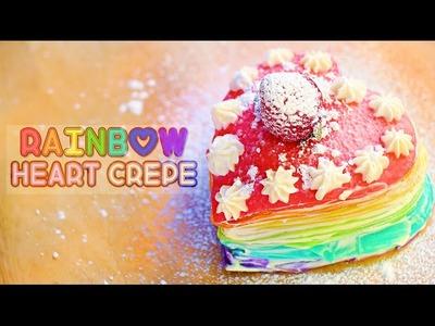 Rainbow Heart Crepe Cake