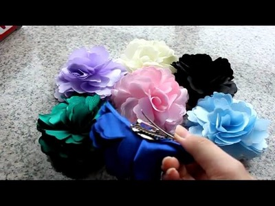 Silky Rose Flower Hat Hair Clip Brooch 7 Pcs yz07w As picture