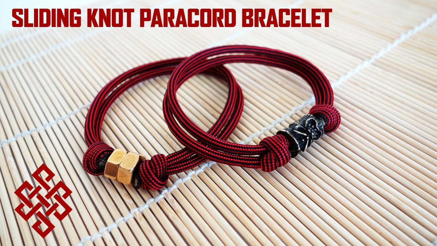 Sliding Knot Paracord Bracelet with Hex Nut.Bead Tutorial