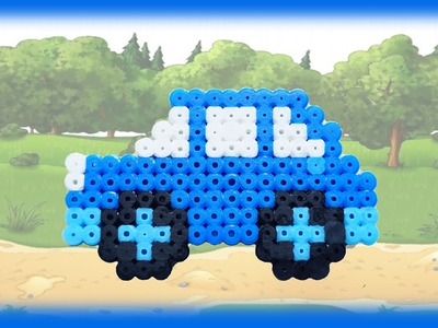 TUTORIAL Hama Beads Pyssla Perler Beads. How to Make a car